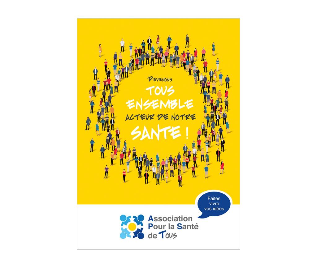 APST association pour la santé de tous, création logo et flyer. Yes graphiste, site internet et e-commerce, communication. Yes on y va ! Drôme 26.