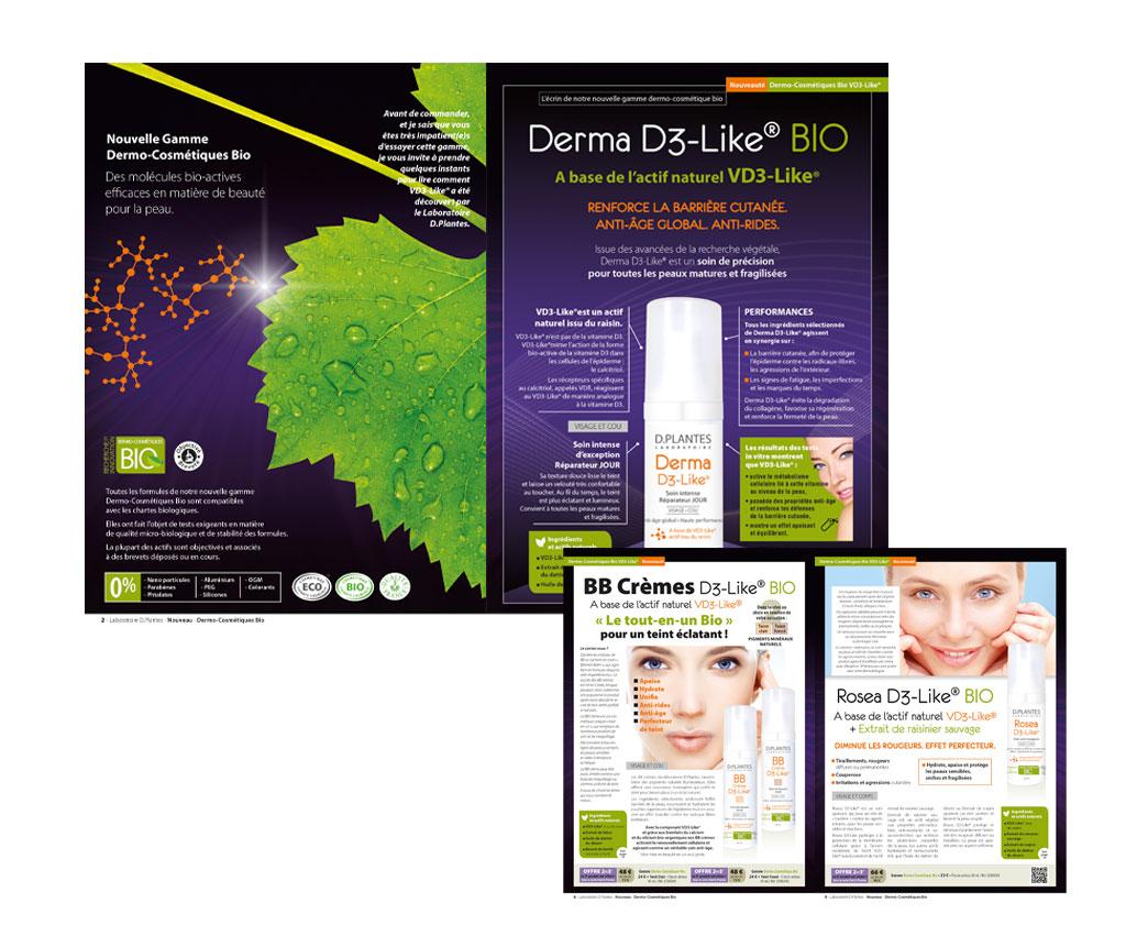 Laboratoire D.Plantes, catalogue cosmétiques VAD, création packaging. Yes graphiste, site internet et e-commerce, communication. Yes on y va ! Drôme 26.