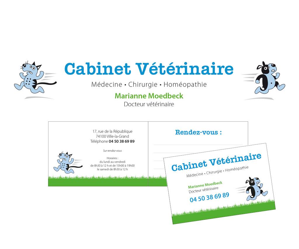 Marianne Moedbeck vétérinaire, logo et papeterie. Yes graphiste, site internet et e-commerce, communication. Yes on y va ! Drôme 26.