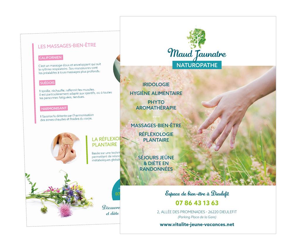 Maud Jaunatre Naturopathe à Dieulefit, logo et flyer. Yes graphiste, site internet et e-commerce, communication. Yes on y va ! Drôme 26.