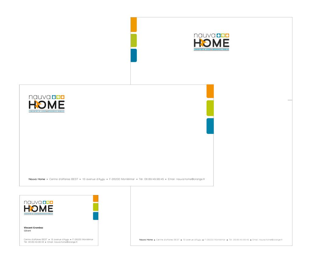 Nauva Home, logo, charte graphique. Yes graphiste, site internet et e-commerce, communication. Yes on y va ! Drôme 26.