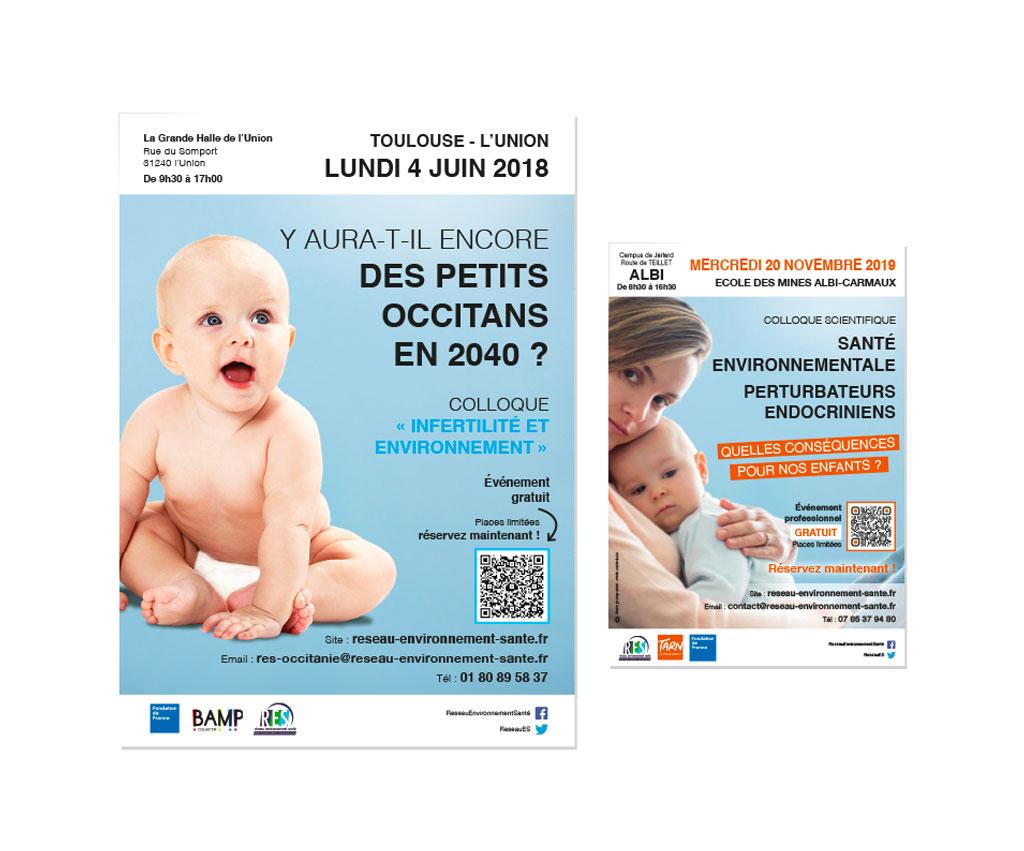 RES Réseau Environnement Santé, affiche, flyer. Yes graphiste, site internet et e-commerce, communication. Yes on y va ! Drôme 26.