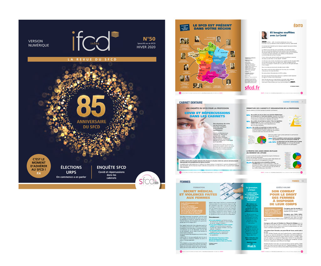 SFCD Syndicat des Femmes Chirurgiens Dentistes, revue IFCD N°50. Yes graphiste, site internet et e-commerce, communication. Yes on y va ! Drôme 26.