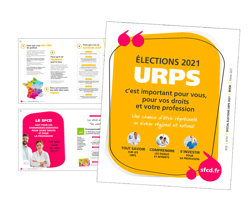 SFCD Syndicat des Femmes Chirurgiens Dentistes, catalogue élections URPS. Yes graphiste, site internet et e-commerce, communication. Yes on y va ! Drôme 26.