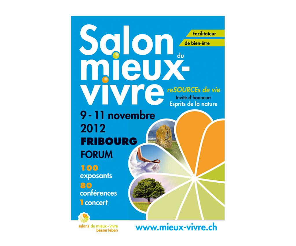 Salon du Mieux Vivre Suisse, affiche et flyer. Yes graphiste, site internet et e-commerce, communication. Yes on y va ! Drôme 26.