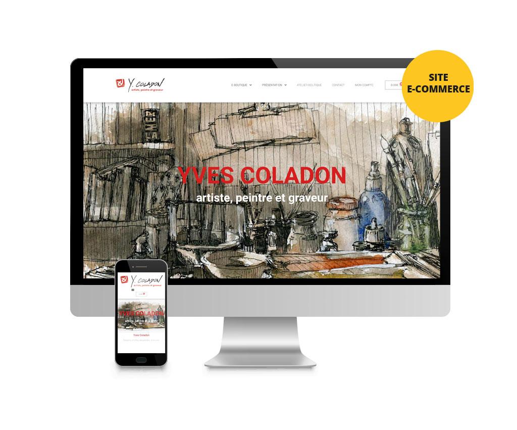 Yves Coladon, artiste peintre, site e-commerce. Yes graphiste, site internet et e-commerce, communication. Yes on y va ! Drôme 26.